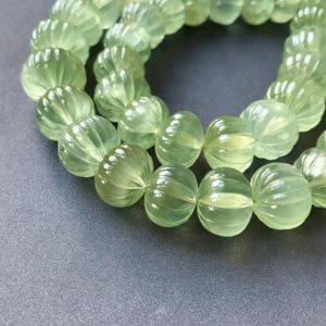 Shop Rondelle Gemstone Beads! Prehnite Carved Pumpkin Rondelles • 11-16mm • Aa+ Polished Hand Carving • Glowing Pastel Green • Natural • Large Focal Beads • Wow! | Natural genuine rondelle Gemstone beads for beading and jewelry making.  #jewelry #beads #beadedjewelry #diyjewelry #jewelrymaking #beadstore #beading #affiliate #ad