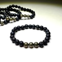 Pyrite Lava Rock Beaded Bracelet   Natural genuine Gemstone jewelry. Buy crystal jewelry, handmade handcrafted artisan jewelry for women.  Unique handmade gift ideas. #jewelry #beadedjewelry #beadedjewelry #gift #shopping #handmadejewelry #fashion #style #product #jewelry #affiliate #ad