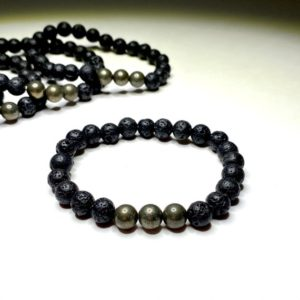 Shop Pyrite Bracelets! Pyrite Lava Rock Beaded Bracelet   Natural genuine Pyrite bracelets. Buy crystal jewelry, handmade handcrafted artisan jewelry for women.  Unique handmade gift ideas. #jewelry #beadedbracelets #beadedjewelry #gift #shopping #handmadejewelry #fashion #style #product #bracelets #affiliate #ad