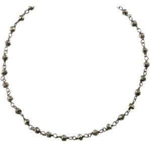 Shop Pyrite Necklaces! Pyrite Necklace Chain Link Beaded Oxidized Black Silver Plate Faceted 18 19 Inches Natural Bronze Color Iron Pyrite Simple Dainty | Natural genuine Pyrite necklaces. Buy crystal jewelry, handmade handcrafted artisan jewelry for women.  Unique handmade gift ideas. #jewelry #beadednecklaces #beadedjewelry #gift #shopping #handmadejewelry #fashion #style #product #necklaces #affiliate #ad