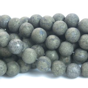matter pyrite round beads – frosty polished gold pyrite gemstones – pyrite beading supplies – matte round beads – 4-14mm beads – 15inch | Natural genuine round Gemstone beads for beading and jewelry making.  #jewelry #beads #beadedjewelry #diyjewelry #jewelrymaking #beadstore #beading #affiliate #ad