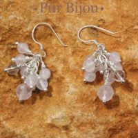 Earrings 925 Silver – Rose And Rock Crystal Quartz | Natural genuine Gemstone jewelry. Buy crystal jewelry, handmade handcrafted artisan jewelry for women.  Unique handmade gift ideas. #jewelry #beadedjewelry #beadedjewelry #gift #shopping #handmadejewelry #fashion #style #product #jewelry #affiliate #ad