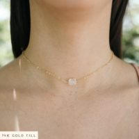 Tiny Clear Crystal Quartz Raw Choker Necklace. Rough Nugget April Birthstone Jewellery. Handmade White Real Stone Mineral Gift For Women. | Natural genuine Gemstone jewelry. Buy crystal jewelry, handmade handcrafted artisan jewelry for women.  Unique handmade gift ideas. #jewelry #beadedjewelry #beadedjewelry #gift #shopping #handmadejewelry #fashion #style #product #jewelry #affiliate #ad