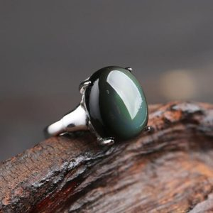 Rainbow Eye Obsidian Ring-Natural Obsidian Stone Ring for Women-Spiritual Protection Healing Meditation Crystal Obsidian Ring Jewelry Gif | Natural genuine Gemstone rings, simple unique handcrafted gemstone rings. #rings #jewelry #shopping #gift #handmade #fashion #style #affiliate #ad