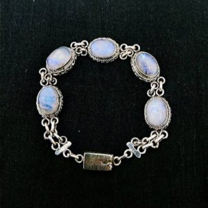 Shop Rainbow Moonstone Bracelets! Rainbow Moonstone Bracelet, 925 Sterling Silver , White Raw Stone, Boho Jewelry, Birthday Gift, Mother's Day Gift. Free Shipping. | Natural genuine Rainbow Moonstone bracelets. Buy crystal jewelry, handmade handcrafted artisan jewelry for women.  Unique handmade gift ideas. #jewelry #beadedbracelets #beadedjewelry #gift #shopping #handmadejewelry #fashion #style #product #bracelets #affiliate #ad