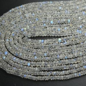 Shop Rainbow Moonstone Faceted Beads! 13 Inches Strand,Blue Fire Natural Rainbow Moonstone Micro Faceted Rondelles,Size. 3.5mm | Natural genuine faceted Rainbow Moonstone beads for beading and jewelry making.  #jewelry #beads #beadedjewelry #diyjewelry #jewelrymaking #beadstore #beading #affiliate #ad