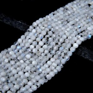 Shop Rainbow Moonstone Beads! Rainbow Moonstone Gemstone Micro Faceted Round 2MM 3MM 4MM Loose Beads (P10) | Natural genuine beads Rainbow Moonstone beads for beading and jewelry making.  #jewelry #beads #beadedjewelry #diyjewelry #jewelrymaking #beadstore #beading #affiliate #ad