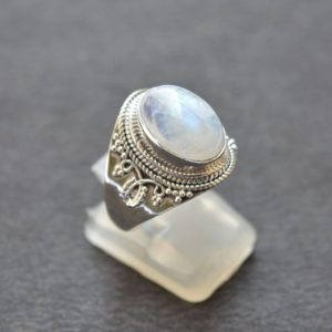 Shop Rainbow Moonstone Rings! Handmade Ring, 925 Sterling Silver Jewelry, Rainbow Moonstone Gemstone Ring, Oval Shape, Boho Jewelry, Silver Ring, Gift For Her, R 50 | Natural genuine Rainbow Moonstone rings, simple unique handcrafted gemstone rings. #rings #jewelry #shopping #gift #handmade #fashion #style #affiliate #ad