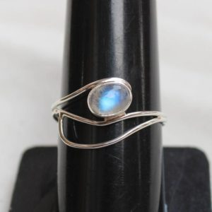 Shop Rainbow Moonstone Rings! Rainbow Moonstone Ring, Stackable Ring, Gift for her, Sterling silver handmade rings, Blue flash Rainbow Moonstone Ring, anniversary gifts | Natural genuine Rainbow Moonstone rings, simple unique handcrafted gemstone rings. #rings #jewelry #shopping #gift #handmade #fashion #style #affiliate #ad