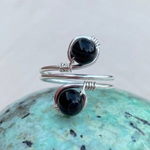 Shop Rainbow Obsidian Rings! Rainbow Obsidian Sterling Silver Crystal Wire Wrapped Gemstone Beaded Ring, Ships Fast!   Natural genuine Rainbow Obsidian rings, simple unique handcrafted gemstone rings. #rings #jewelry #shopping #gift #handmade #fashion #style #affiliate #ad