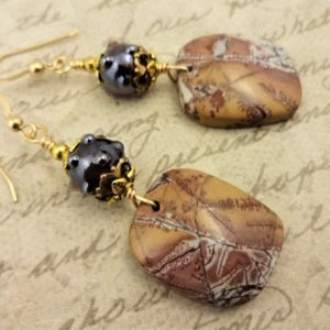 Shop Rainforest Jasper Earrings! Sonora Dendritic Rhyolite Earring, Sonora Dendritic Jasper Earrings, Gorgeous Natural Stone Jewelry | Natural genuine Rainforest Jasper earrings. Buy crystal jewelry, handmade handcrafted artisan jewelry for women.  Unique handmade gift ideas. #jewelry #beadedearrings #beadedjewelry #gift #shopping #handmadejewelry #fashion #style #product #earrings #affiliate #ad