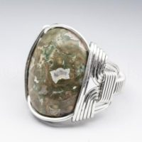 Rainforest Jasper Gemstone 18x25mm Cabochon Sterling Silver Wire Wrapped Ring – Optional Oxidation / antiquing – Made To Order And Ships Fast! | Natural genuine Gemstone jewelry. Buy crystal jewelry, handmade handcrafted artisan jewelry for women.  Unique handmade gift ideas. #jewelry #beadedjewelry #beadedjewelry #gift #shopping #handmadejewelry #fashion #style #product #jewelry #affiliate #ad