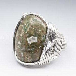 Shop Rainforest Jasper Rings! Rainforest Jasper Gemstone 18x25mm Cabochon Sterling Silver Wire Wrapped Ring – Optional Oxidation/Antiquing – Made to Order and Ships Fast!   Natural genuine Rainforest Jasper rings, simple unique handcrafted gemstone rings. #rings #jewelry #shopping #gift #handmade #fashion #style #affiliate #ad