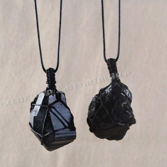 Raw Black Tourmaline Necklace,healing Crystal Wrap Necklace For Men Women,natural Tourmaline Stone Balance Energy Protection Yoga Necklace