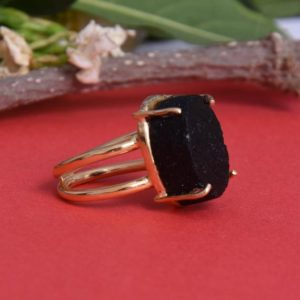 Shop Black Tourmaline Rings! Raw Black Tourmaline Ring, Prong Set Ring, Healing Stone Ring, Dainty Ring, Oval Gemstone Ring, Artisan Made Ring, Protection Stone Ring, | Natural genuine Black Tourmaline rings, simple unique handcrafted gemstone rings. #rings #jewelry #shopping #gift #handmade #fashion #style #affiliate #ad