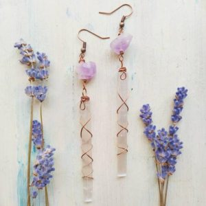 Shop Selenite Earrings! Raw Selenite and Amethyst Earrings, Dangle Selenite earrings in Copper | Natural genuine Selenite earrings. Buy crystal jewelry, handmade handcrafted artisan jewelry for women.  Unique handmade gift ideas. #jewelry #beadedearrings #beadedjewelry #gift #shopping #handmadejewelry #fashion #style #product #earrings #affiliate #ad