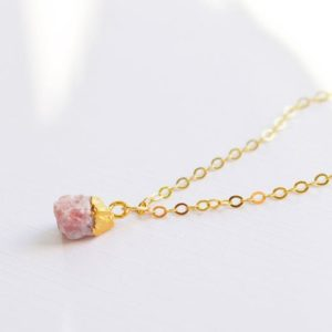 Shop Rhodochrosite Necklaces! Rhodochrosite Necklace – Sterling Silver or 14kt Gold Filled – Small Raw Rhodochrosite Pendant – Pink Stone Crystal Necklace | Natural genuine Rhodochrosite necklaces. Buy crystal jewelry, handmade handcrafted artisan jewelry for women.  Unique handmade gift ideas. #jewelry #beadednecklaces #beadedjewelry #gift #shopping #handmadejewelry #fashion #style #product #necklaces #affiliate #ad