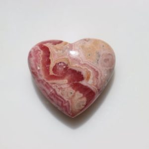 Shop Tumbled Rhodochrosite Crystals & Pocket Stones! Cute :) Rhodochrosite Heart stone, pink patterns patterned, Natural Gem Pocket Stone, Polished Tumbled Pink Gemmy Crystal, Weight-28 grams.   Natural genuine stones & crystals in various shapes & sizes. Buy raw cut, tumbled, or polished gemstones for making jewelry or crystal healing energy vibration raising reiki stones. #crystals #gemstones #crystalhealing #crystalsandgemstones #energyhealing #affiliate #ad