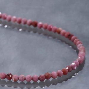 Shop Rhodonite Necklaces! Rhodonite Beads Necklace Pink Stone Necklace Microfaceted Rhodonite Necklace Rhodonite Choker Necklace Gift For Girlfriend Birthday Gift | Natural genuine Rhodonite necklaces. Buy crystal jewelry, handmade handcrafted artisan jewelry for women.  Unique handmade gift ideas. #jewelry #beadednecklaces #beadedjewelry #gift #shopping #handmadejewelry #fashion #style #product #necklaces #affiliate #ad