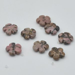 """High Quality Grade A Natural Rhodonite Semi-precious Gemstone Flower Shaped Beads – Approx 20mm – One Strand Approx 15.5"""" – 16"""" Strand 