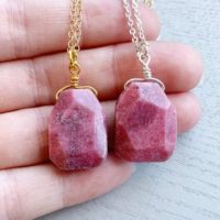 Gold Or Silver – Heart Chakra Necklace – Raw Rhodonite Necklace, Gift For Her, Pink Pendant Necklace, Raw Stone Necklace, Layering Necklace | Natural genuine Gemstone jewelry. Buy crystal jewelry, handmade handcrafted artisan jewelry for women.  Unique handmade gift ideas. #jewelry #beadedjewelry #beadedjewelry #gift #shopping #handmadejewelry #fashion #style #product #jewelry #affiliate #ad