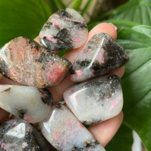 Shop Tumbled Rhodonite Crystals & Pocket Stones! Tumbled rhodonite , rhodonite , chakra stone | Natural genuine stones & crystals in various shapes & sizes. Buy raw cut, tumbled, or polished gemstones for making jewelry or crystal healing energy vibration raising reiki stones. #crystals #gemstones #crystalhealing #crystalsandgemstones #energyhealing #affiliate #ad