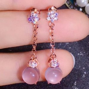 Rose Quartz Earring,925 Sterling Silver,Rose Quartz earring Rose Gold Plated,Gift For Women Jewelry,Bridal Earring,Bridesmaid Gift | Natural genuine Gemstone earrings. Buy handcrafted artisan wedding jewelry.  Unique handmade bridal jewelry gift ideas. #jewelry #beadedearrings #gift #crystaljewelry #shopping #handmadejewelry #wedding #bridal #earrings #affiliate #ad