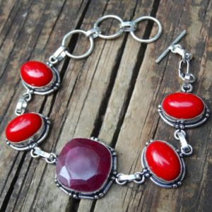 Shop Ruby Bracelets! Sterling Silver Natural Stone Ruby & Red Coral  Bracelet, Natural Stone 925 Silver gemstone bracelet, Red Coral, Ruby Statement bracelet | Natural genuine Ruby bracelets. Buy crystal jewelry, handmade handcrafted artisan jewelry for women.  Unique handmade gift ideas. #jewelry #beadedbracelets #beadedjewelry #gift #shopping #handmadejewelry #fashion #style #product #bracelets #affiliate #ad
