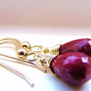 Shop Ruby Earrings! Natural Red Ruby Gold Earrings.   Gold Ruby dangles.   Ruby drops.  Indian burgundy gemstone.   July birthstone.  Cancer zodiac jewelry | Natural genuine Ruby earrings. Buy crystal jewelry, handmade handcrafted artisan jewelry for women.  Unique handmade gift ideas. #jewelry #beadedearrings #beadedjewelry #gift #shopping #handmadejewelry #fashion #style #product #earrings #affiliate #ad
