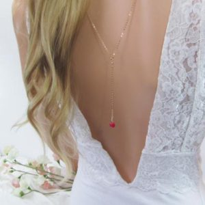 Shop Ruby Necklaces! Ruby Bridal Backdrop Necklace, Wedding Lariat for the Bride, 14K Gold Filled Back Necklace | Natural genuine Ruby necklaces. Buy handcrafted artisan wedding jewelry.  Unique handmade bridal jewelry gift ideas. #jewelry #beadednecklaces #gift #crystaljewelry #shopping #handmadejewelry #wedding #bridal #necklaces #affiliate #ad
