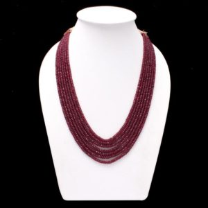 Shop Ruby Necklaces! ON SALE ruby beaded necklace, ruby faceted 4mm to 5mm rondelle beads necklace,16-19 inch long red ruby necklace 7 Strand Adjustable Necklace | Natural genuine Ruby necklaces. Buy crystal jewelry, handmade handcrafted artisan jewelry for women.  Unique handmade gift ideas. #jewelry #beadednecklaces #beadedjewelry #gift #shopping #handmadejewelry #fashion #style #product #necklaces #affiliate #ad
