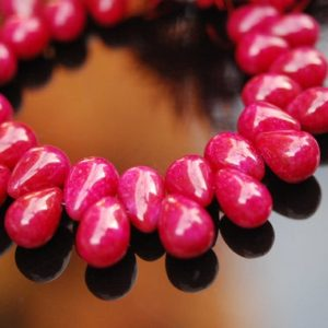 Shop Ruby Beads! SALE – 1/2 strand of ruby red chalcedony drops 22.50 ON SALE 16.00 | Natural genuine beads Ruby beads for beading and jewelry making.  #jewelry #beads #beadedjewelry #diyjewelry #jewelrymaking #beadstore #beading #affiliate #ad