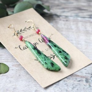 Shop Ruby Zoisite Earrings! Ruby Zoisite Earrings, 14k Gold Filled, Dangle Earrings, Gift for Her,   Natural genuine Ruby Zoisite earrings. Buy crystal jewelry, handmade handcrafted artisan jewelry for women.  Unique handmade gift ideas. #jewelry #beadedearrings #beadedjewelry #gift #shopping #handmadejewelry #fashion #style #product #earrings #affiliate #ad