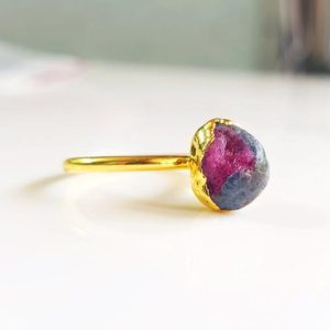 Shop Ruby Zoisite Rings! Ruby Zoisite Gemstone Ring | Statement Ring | Natural Gemstone Rough Rings | Gift for Her | Meditation Stone Ring| Bio Color Stone [WJ 025] | Natural genuine Ruby Zoisite rings, simple unique handcrafted gemstone rings. #rings #jewelry #shopping #gift #handmade #fashion #style #affiliate #ad