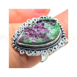 Shop Ruby Zoisite Rings! Ruby Zoisite Ring, Sterling Silver Ring, Ruby Zoisite Jewelry, Boho Ring, Statement Ring, Gift Ring, Designer Ring, Birthday Gift, Raw Stone | Natural genuine Ruby Zoisite rings, simple unique handcrafted gemstone rings. #rings #jewelry #shopping #gift #handmade #fashion #style #affiliate #ad
