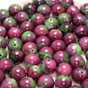 Shop Ruby Zoisite Round Beads! 13MM Genuine Ruby Zoisite Gemstone Grade AA Red Green Round 4 Beads (80006572-496) | Natural genuine round Ruby Zoisite beads for beading and jewelry making.  #jewelry #beads #beadedjewelry #diyjewelry #jewelrymaking #beadstore #beading #affiliate #ad