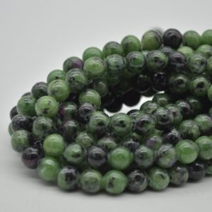 """Shop Ruby Zoisite Round Beads! Large Hole (2mm) Beads – Natural Ruby Zoisite Semi-precious Gemstone Round Beads – 8mm – 15.5"""" strand 