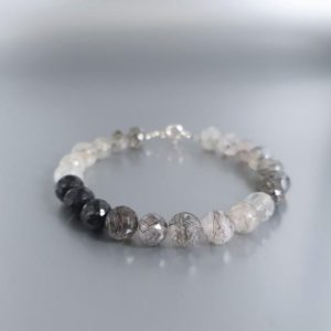 Shop Rutilated Quartz Bracelets! Bracelet black gray Rutile quartz with silver unique gift for her – faceted round natural gemstone | Natural genuine Rutilated Quartz bracelets. Buy crystal jewelry, handmade handcrafted artisan jewelry for women.  Unique handmade gift ideas. #jewelry #beadedbracelets #beadedjewelry #gift #shopping #handmadejewelry #fashion #style #product #bracelets #affiliate #ad