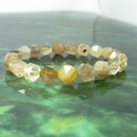 Golden Rutilated Quartz Faceted Bracelet 8mm,  Unisex Women Men Bracelet, Natural Gemstone Bracelet, Handmade Beaded Bracelet +gift Bag   Natural genuine Gemstone jewelry. Buy crystal jewelry, handmade handcrafted artisan jewelry for women.  Unique handmade gift ideas. #jewelry #beadedjewelry #beadedjewelry #gift #shopping #handmadejewelry #fashion #style #product #jewelry #affiliate #ad