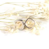 Golden Rutile Quartz Stud Earrings / / Rutilated Quartz Jewelry / / Sterling Silver / / Village Silversmith | Natural genuine Gemstone jewelry. Buy crystal jewelry, handmade handcrafted artisan jewelry for women.  Unique handmade gift ideas. #jewelry #beadedjewelry #beadedjewelry #gift #shopping #handmadejewelry #fashion #style #product #jewelry #affiliate #ad