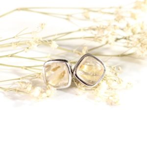 Shop Rutilated Quartz Earrings! Golden Rutile Quartz Stud Earrings // Rutilated Quartz Jewelry // Sterling Silver // Village Silversmith | Natural genuine Rutilated Quartz earrings. Buy crystal jewelry, handmade handcrafted artisan jewelry for women.  Unique handmade gift ideas. #jewelry #beadedearrings #beadedjewelry #gift #shopping #handmadejewelry #fashion #style #product #earrings #affiliate #ad