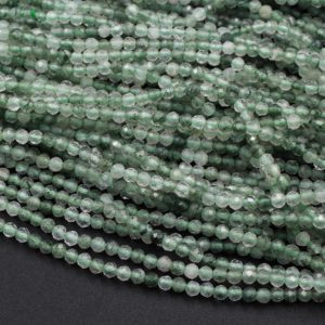 """Shop Rutilated Quartz Beads! Micro Faceted Natural Green Phantom Rutile Quartz Round Beads 2mm 15.5"""" Strand 