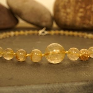 Shop Rutilated Quartz Necklaces! Golden Rutilated Quartz Choker • Golden Rutilated Quartz Necklace • Knotted Choker Necklace • Gift for Her • Angel Hair Quartz • 3306 | Natural genuine Rutilated Quartz necklaces. Buy crystal jewelry, handmade handcrafted artisan jewelry for women.  Unique handmade gift ideas. #jewelry #beadednecklaces #beadedjewelry #gift #shopping #handmadejewelry #fashion #style #product #necklaces #affiliate #ad