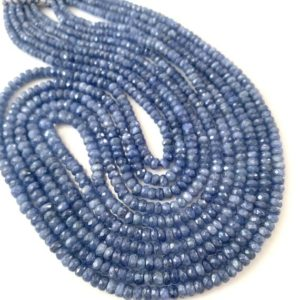 Shop Sapphire Rondelle Beads! 1/2 strand of Burmese sapphire roundels | Natural genuine rondelle Sapphire beads for beading and jewelry making.  #jewelry #beads #beadedjewelry #diyjewelry #jewelrymaking #beadstore #beading #affiliate #ad