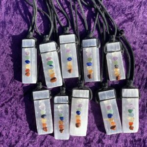 Shop Selenite Necklaces! Selenite Necklace with Chakra Stone on Black Cord   Natural genuine Selenite necklaces. Buy crystal jewelry, handmade handcrafted artisan jewelry for women.  Unique handmade gift ideas. #jewelry #beadednecklaces #beadedjewelry #gift #shopping #handmadejewelry #fashion #style #product #necklaces #affiliate #ad