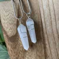 Selenite Necklace, Selenite Jewelry, White Crystal Necklace, Black Crystal Necklace   Natural genuine Gemstone jewelry. Buy crystal jewelry, handmade handcrafted artisan jewelry for women.  Unique handmade gift ideas. #jewelry #beadedjewelry #beadedjewelry #gift #shopping #handmadejewelry #fashion #style #product #jewelry #affiliate #ad