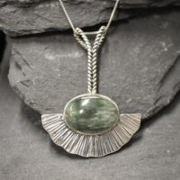 Seraphinite Pendant, Natural Seraphinite, Long Heavy Pendant, Sterling Silver Pendant, Statement Necklace, Artisan Pendant, Seraphim Pendant   Natural genuine Gemstone jewelry. Buy crystal jewelry, handmade handcrafted artisan jewelry for women.  Unique handmade gift ideas. #jewelry #beadedjewelry #beadedjewelry #gift #shopping #handmadejewelry #fashion #style #product #jewelry #affiliate #ad