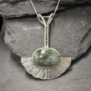 Shop Seraphinite Pendants! Seraphinite Pendant, Natural Seraphinite, Long Heavy Pendant, Sterling Silver Pendant, Statement Necklace, Artisan Pendant, Seraphim Pendant | Natural genuine Seraphinite pendants. Buy crystal jewelry, handmade handcrafted artisan jewelry for women.  Unique handmade gift ideas. #jewelry #beadedpendants #beadedjewelry #gift #shopping #handmadejewelry #fashion #style #product #pendants #affiliate #ad