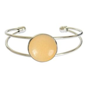Shop Orange Calcite Bracelets! Silver-plated cabochon bracelet – calcite | Natural genuine Orange Calcite bracelets. Buy crystal jewelry, handmade handcrafted artisan jewelry for women.  Unique handmade gift ideas. #jewelry #beadedbracelets #beadedjewelry #gift #shopping #handmadejewelry #fashion #style #product #bracelets #affiliate #ad