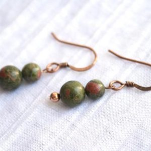Shop Unakite Earrings! Small Unakite Earrings with Copper; Pink, Green Gemstone Earrings; Boho, Hippie, Mother Earth Inspired Jewelry; Simple, Round Bead Earrings | Natural genuine Unakite earrings. Buy crystal jewelry, handmade handcrafted artisan jewelry for women.  Unique handmade gift ideas. #jewelry #beadedearrings #beadedjewelry #gift #shopping #handmadejewelry #fashion #style #product #earrings #affiliate #ad